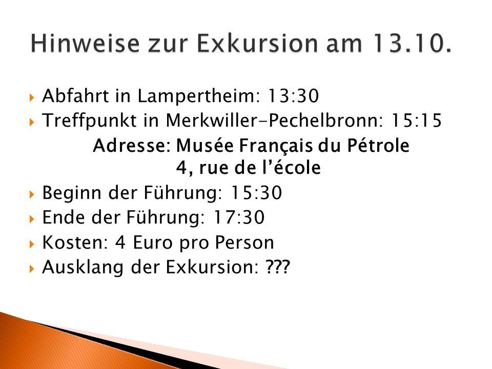 Hinweise zur Exkursion am 13.10.