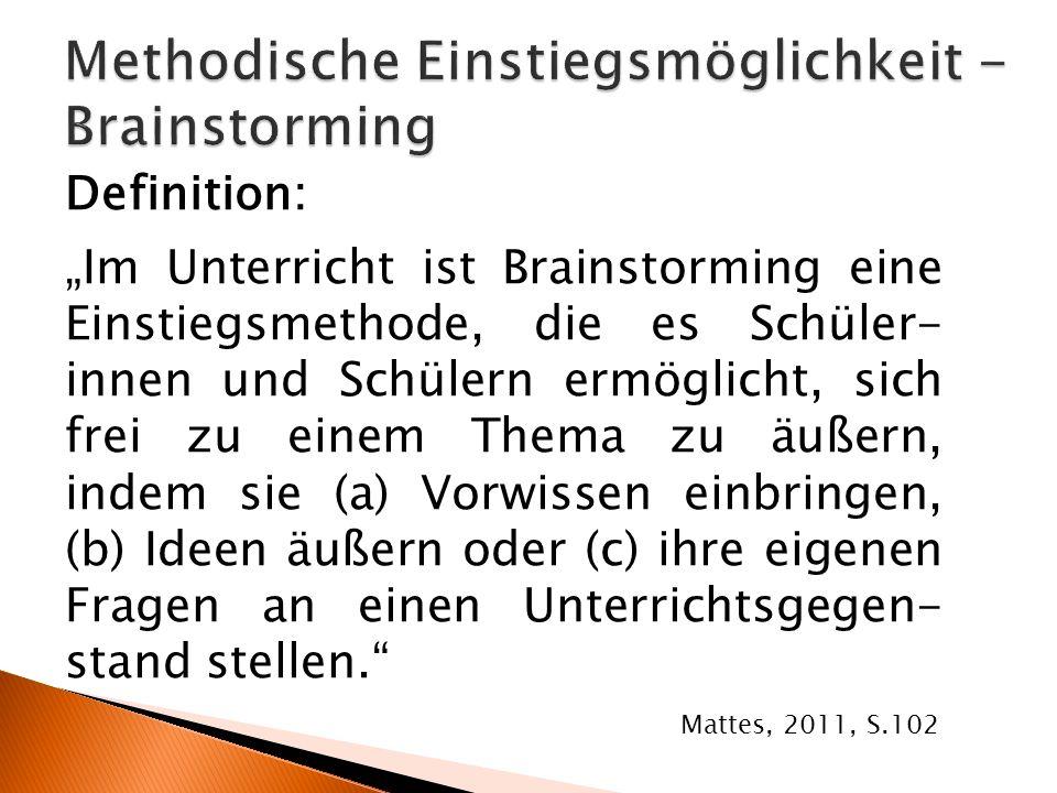 Methodische Einstiegsmöglichkeit - Brainstorming
