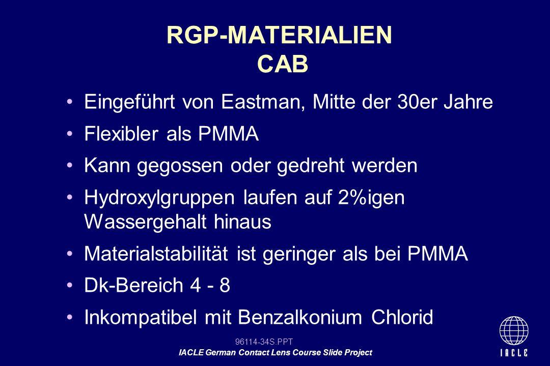 RGP-MATERIALIEN CAB Eingeführt von Eastman, Mitte der 30er Jahre