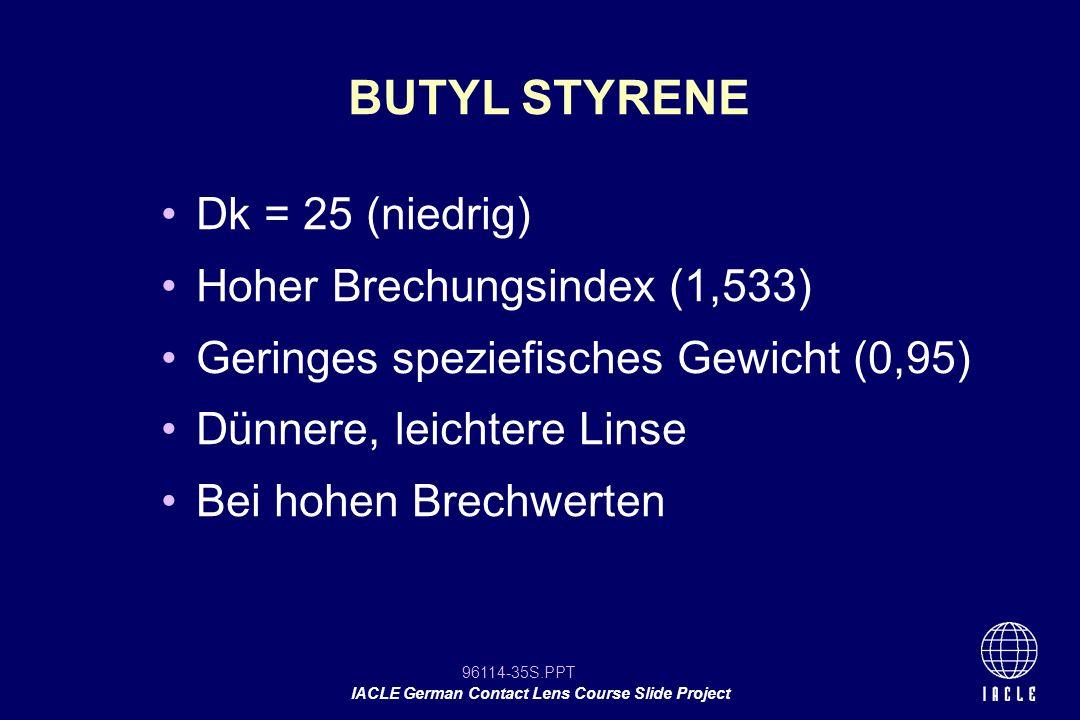 BUTYL STYRENE Dk = 25 (niedrig) Hoher Brechungsindex (1,533)