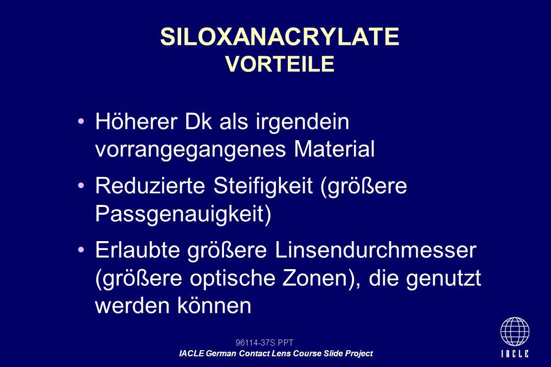 SILOXANACRYLATE VORTEILE