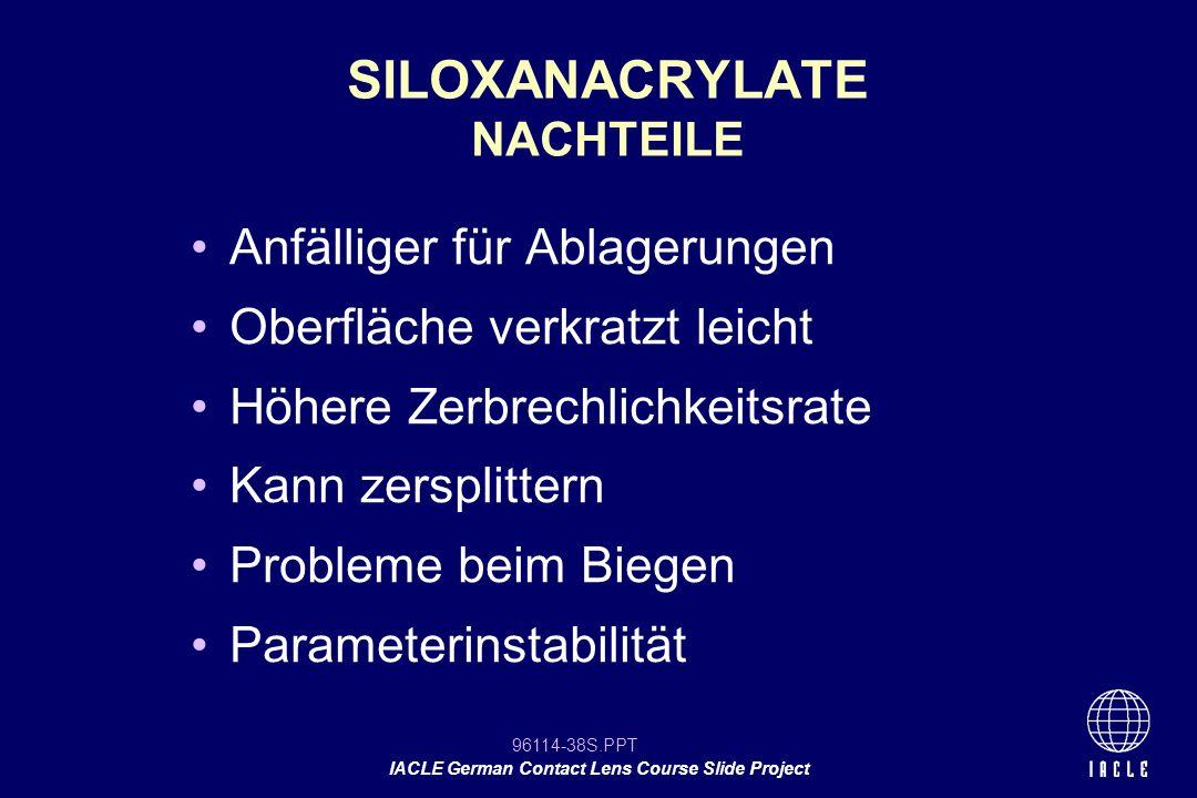SILOXANACRYLATE NACHTEILE
