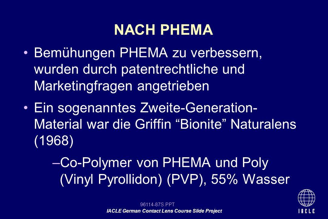 NACH PHEMA Bemühungen PHEMA zu verbessern, wurden durch patentrechtliche und Marketingfragen angetrieben.