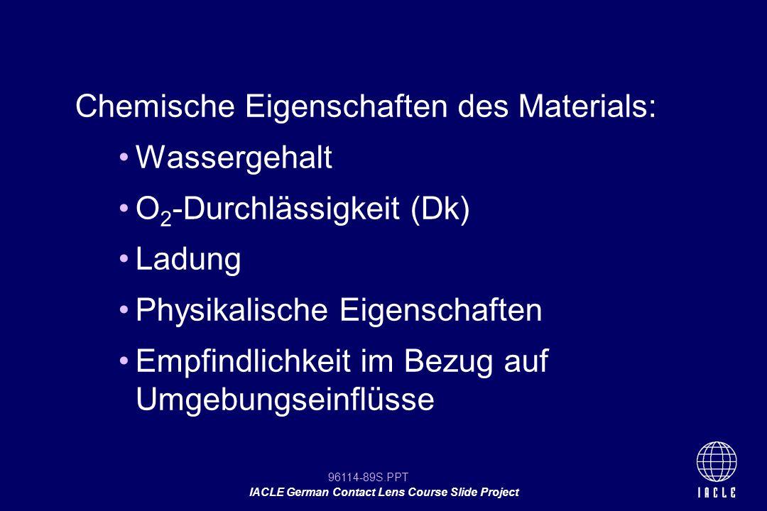 Chemische Eigenschaften des Materials: Wassergehalt