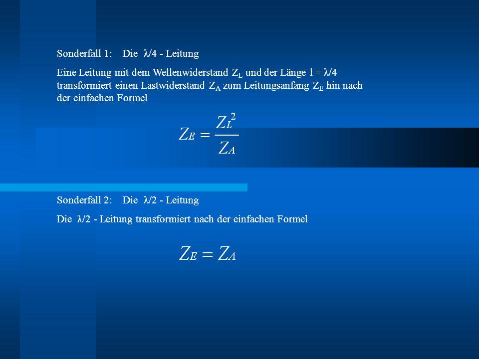 Sonderfall 1: Die λ/4 - Leitung