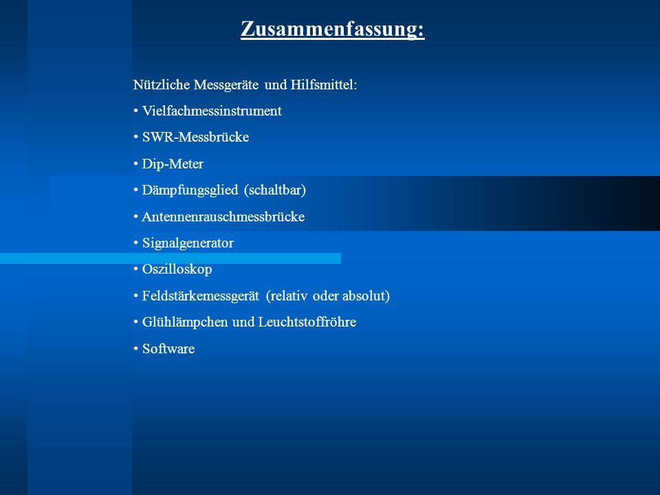 Zusammenfassung: Nützliche Messgeräte und Hilfsmittel: