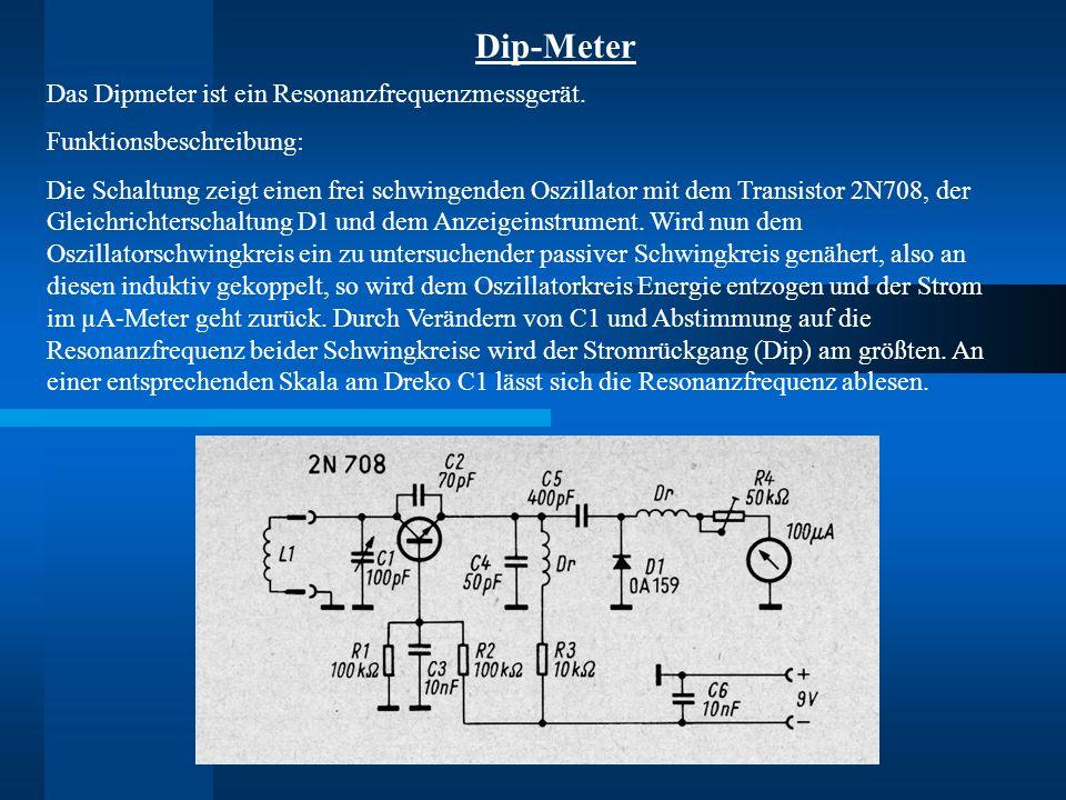 Dip-Meter Das Dipmeter ist ein Resonanzfrequenzmessgerät.