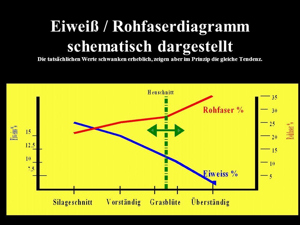 Eiweiß / Rohfaserdiagramm schematisch dargestellt Die tatsächlichen Werte schwanken erheblich, zeigen aber im Prinzip die gleiche Tendenz.
