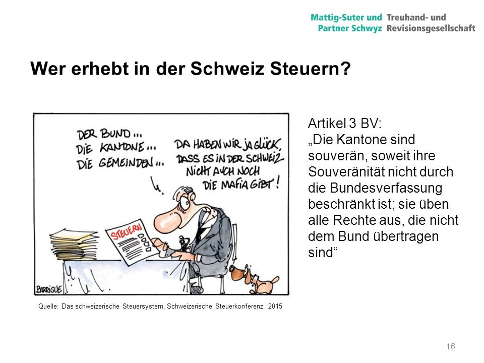 Wer erhebt in der Schweiz Steuern