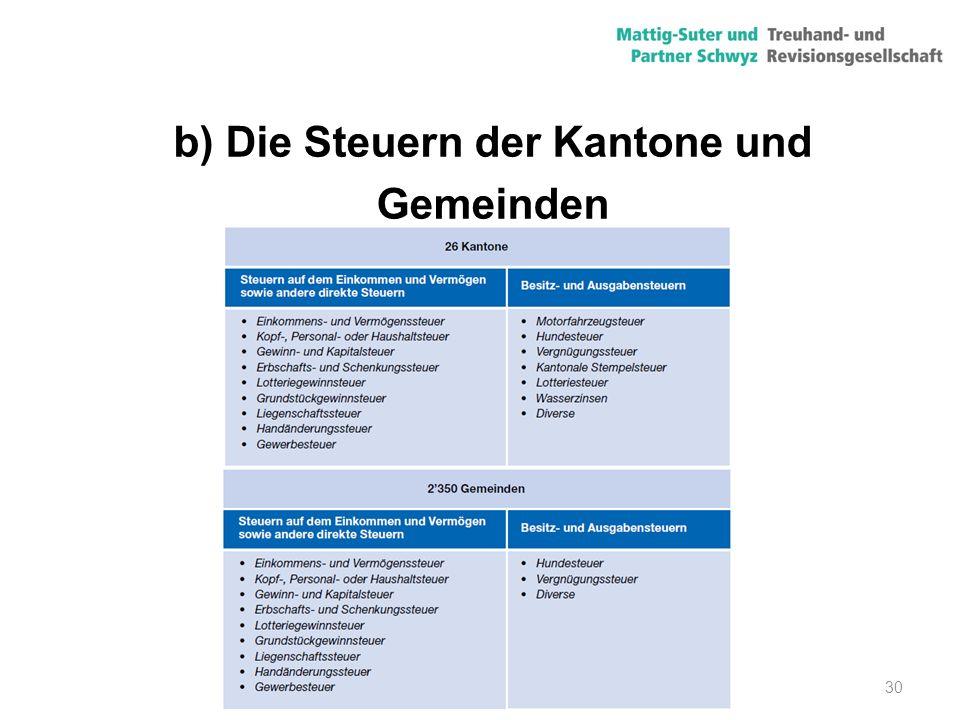 b) Die Steuern der Kantone und Gemeinden