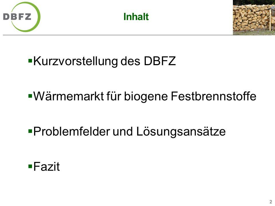 Kurzvorstellung des DBFZ Wärmemarkt für biogene Festbrennstoffe