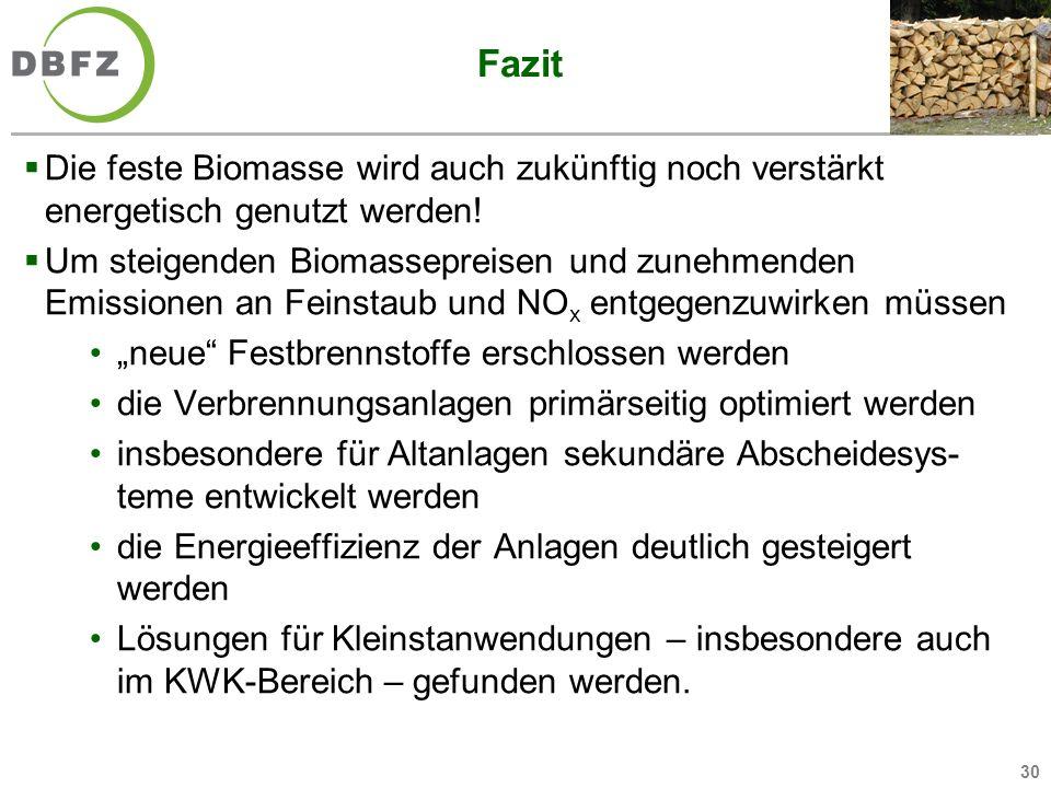 Fazit Die feste Biomasse wird auch zukünftig noch verstärkt energetisch genutzt werden!