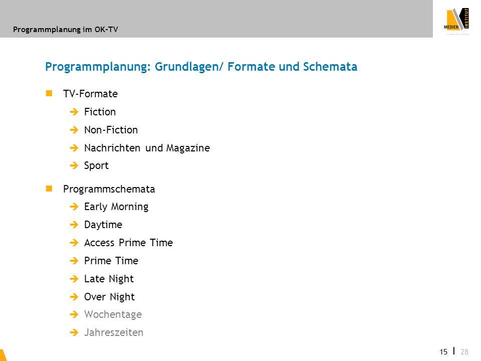 Programmplanung: Grundlagen/ Formate und Schemata