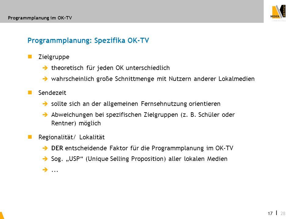 Programmplanung: Spezifika OK-TV