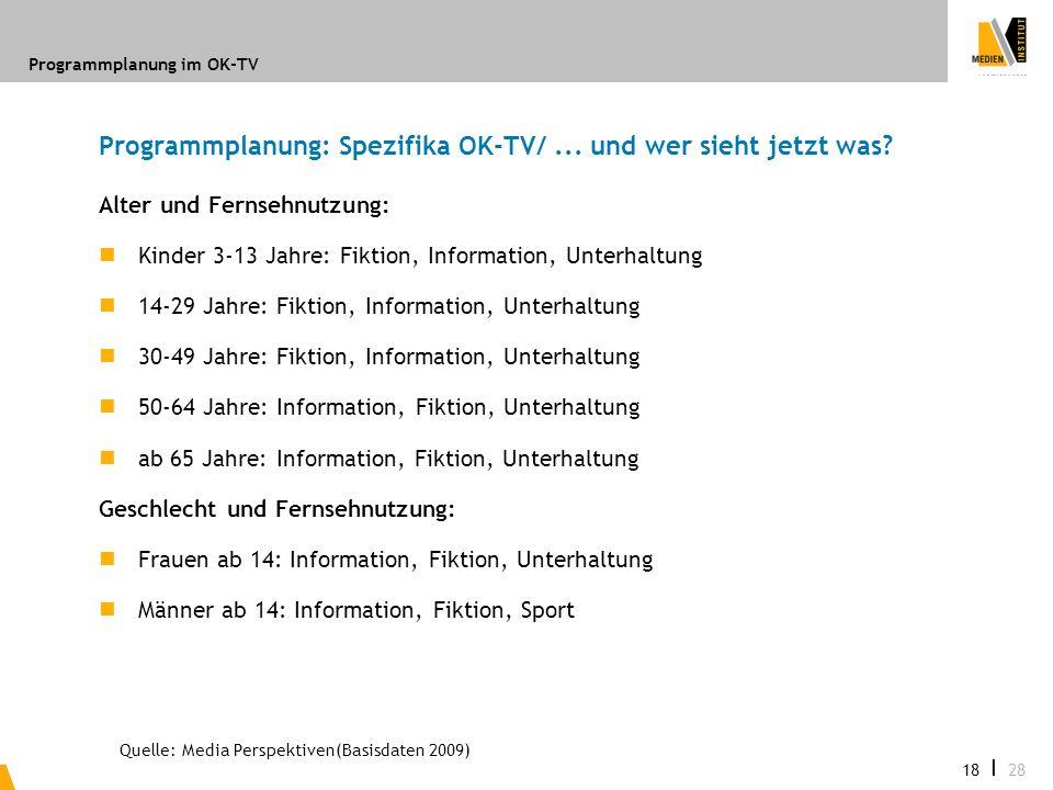 Programmplanung: Spezifika OK-TV/ ... und wer sieht jetzt was
