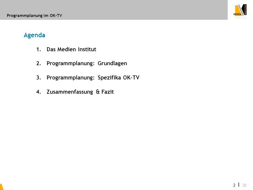 Agenda 1. Das Medien Institut 2. Programmplanung: Grundlagen