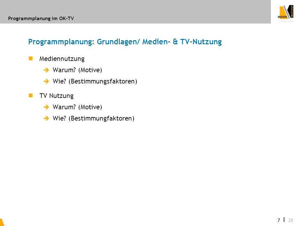 Programmplanung: Grundlagen/ Medien- & TV-Nutzung