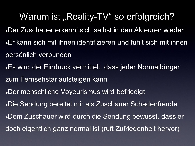 """Warum ist """"Reality-TV so erfolgreich"""
