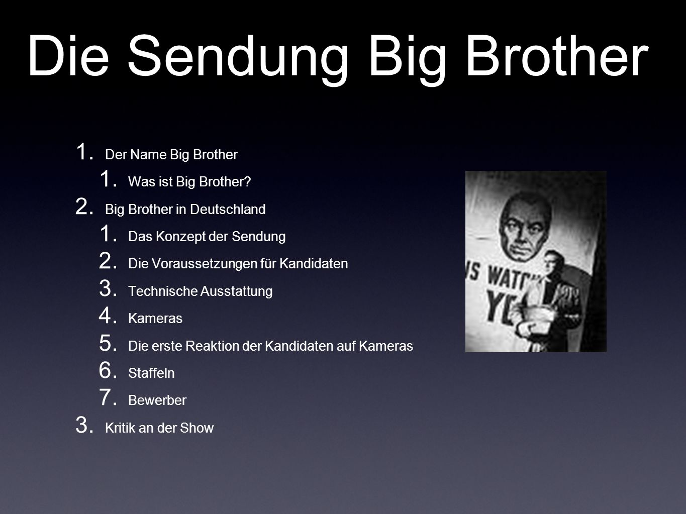 Die Sendung Big Brother