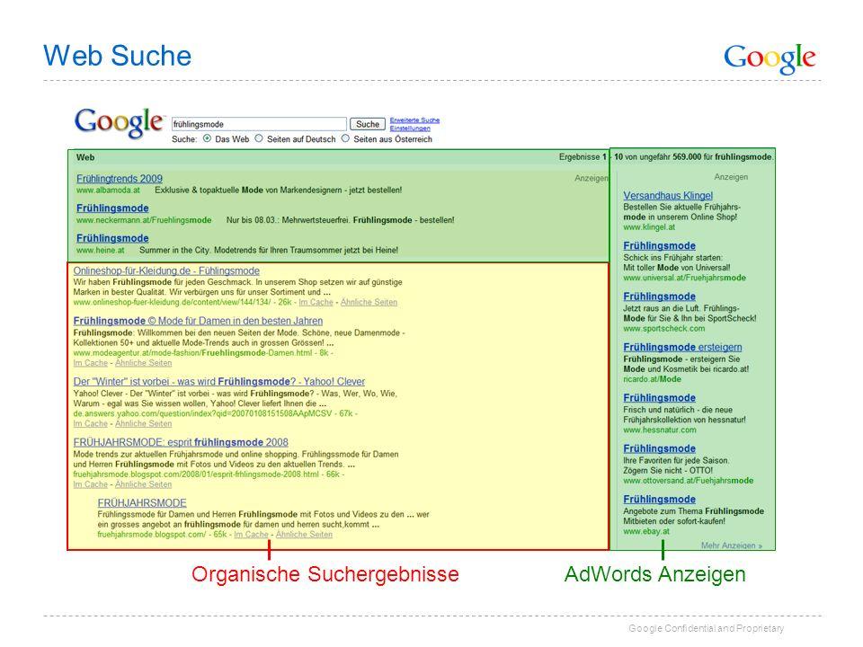 Web Suche Organische Suchergebnisse AdWords Anzeigen