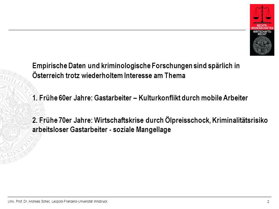 Empirische Daten und kriminologische Forschungen sind spärlich in Österreich trotz wiederholtem Interesse am Thema
