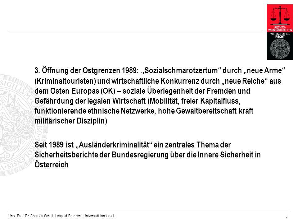 """3. Öffnung der Ostgrenzen 1989: """"Sozialschmarotzertum durch """"neue Arme (Kriminaltouristen) und wirtschaftliche Konkurrenz durch """"neue Reiche aus dem Osten Europas (OK) – soziale Überlegenheit der Fremden und Gefährdung der legalen Wirtschaft (Mobilität, freier Kapitalfluss, funktionierende ethnische Netzwerke, hohe Gewaltbereitschaft kraft militärischer Disziplin)"""