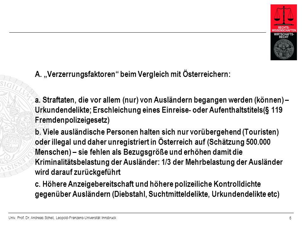"""A. """"Verzerrungsfaktoren beim Vergleich mit Österreichern:"""