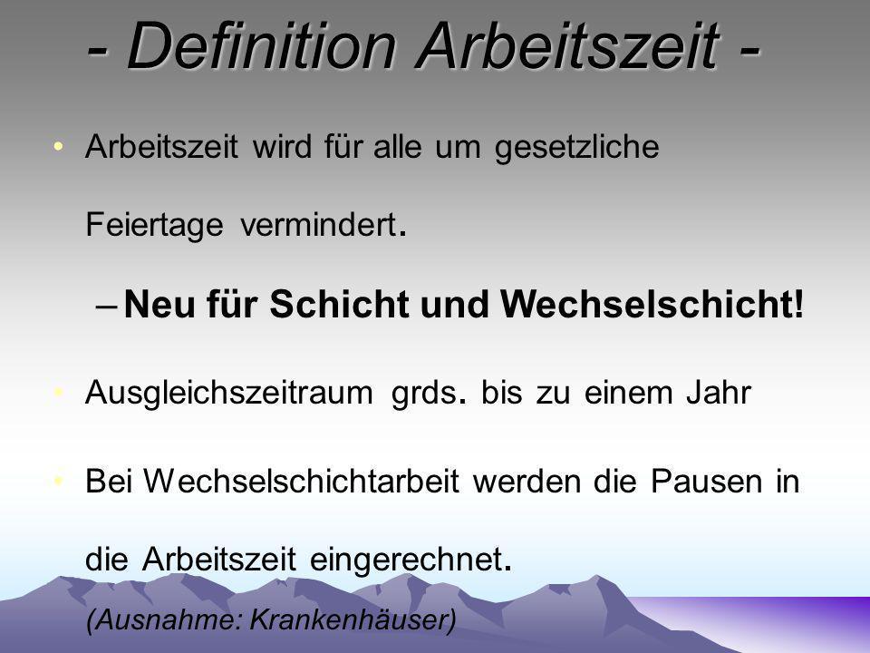 - Definition Arbeitszeit -
