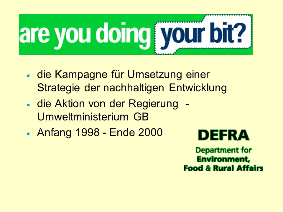 die Kampagne für Umsetzung einer Strategie der nachhaltigen Entwicklung