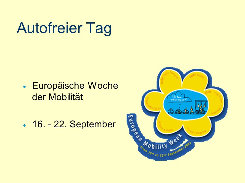 Autofreier Tag Europäische Woche der Mobilität 16. - 22. September