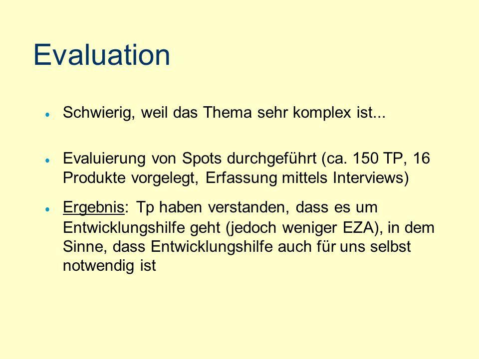 Evaluation Schwierig, weil das Thema sehr komplex ist...