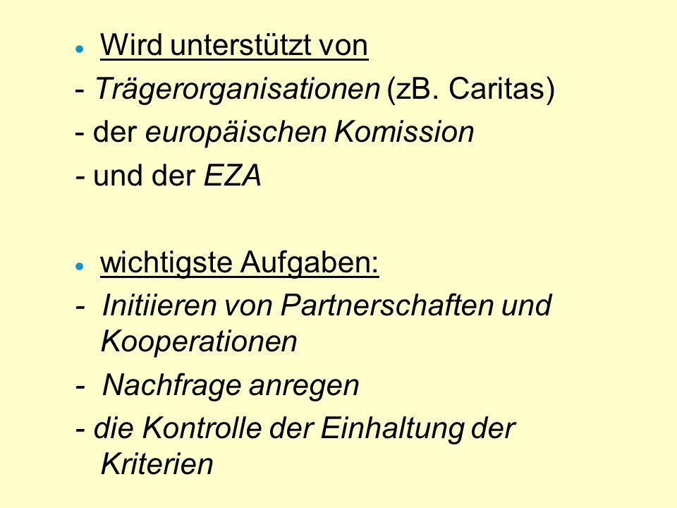 Wird unterstützt von - Trägerorganisationen (zB. Caritas) - der europäischen Komission. - und der EZA.