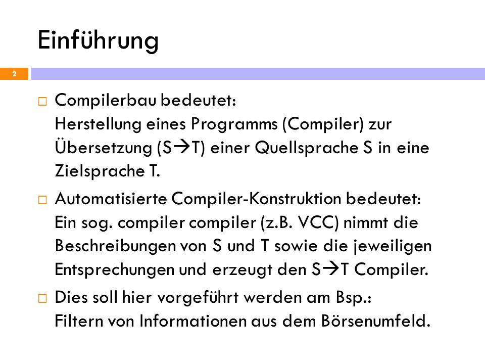 Einführung Compilerbau bedeutet: Herstellung eines Programms (Compiler) zur Übersetzung (ST) einer Quellsprache S in eine Zielsprache T.