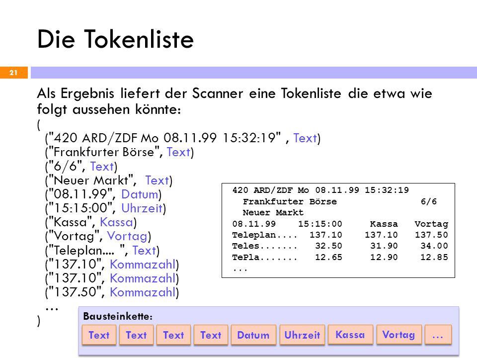 Die Tokenliste Als Ergebnis liefert der Scanner eine Tokenliste die etwa wie folgt aussehen könnte: