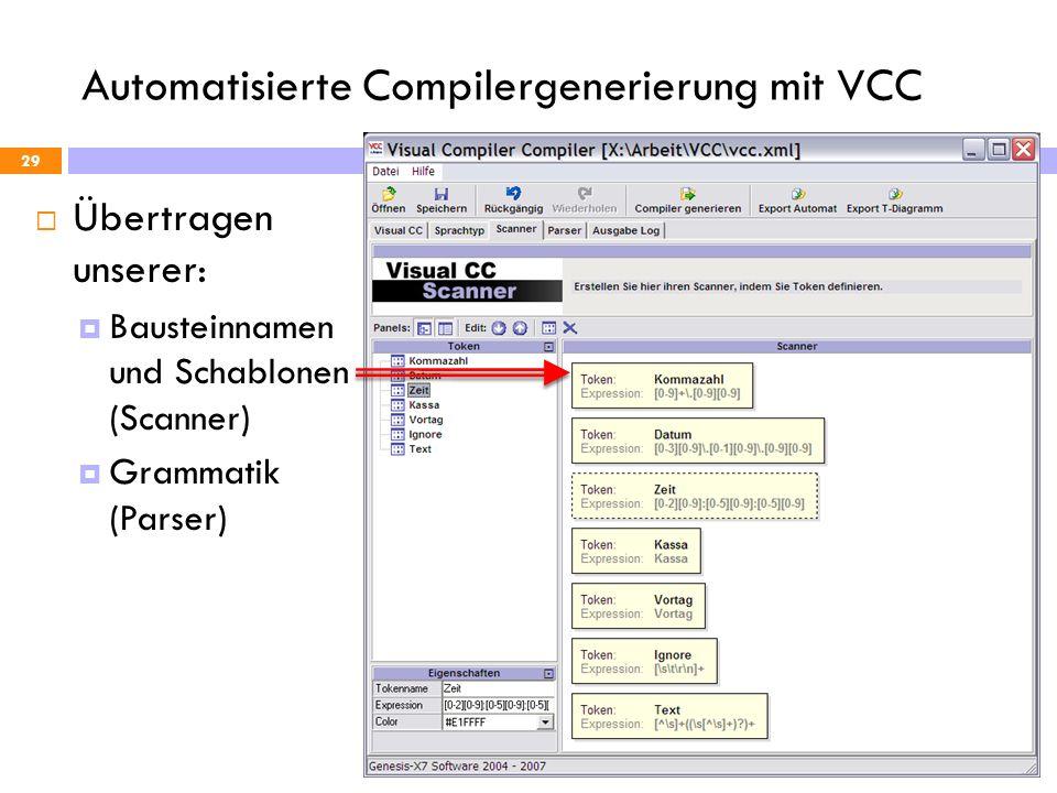 Automatisierte Compilergenerierung mit VCC