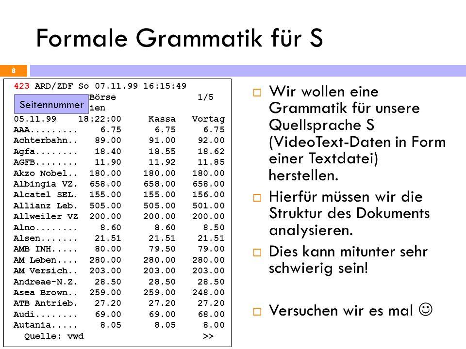 Formale Grammatik für S