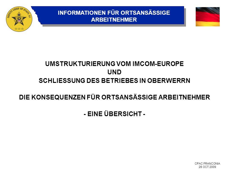 UMSTRUKTURIERUNG VOM IMCOM-EUROPE UND