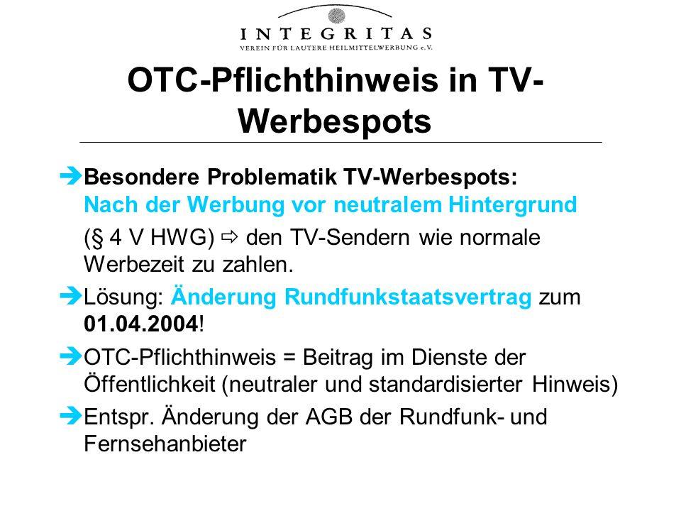 OTC-Pflichthinweis in TV-Werbespots