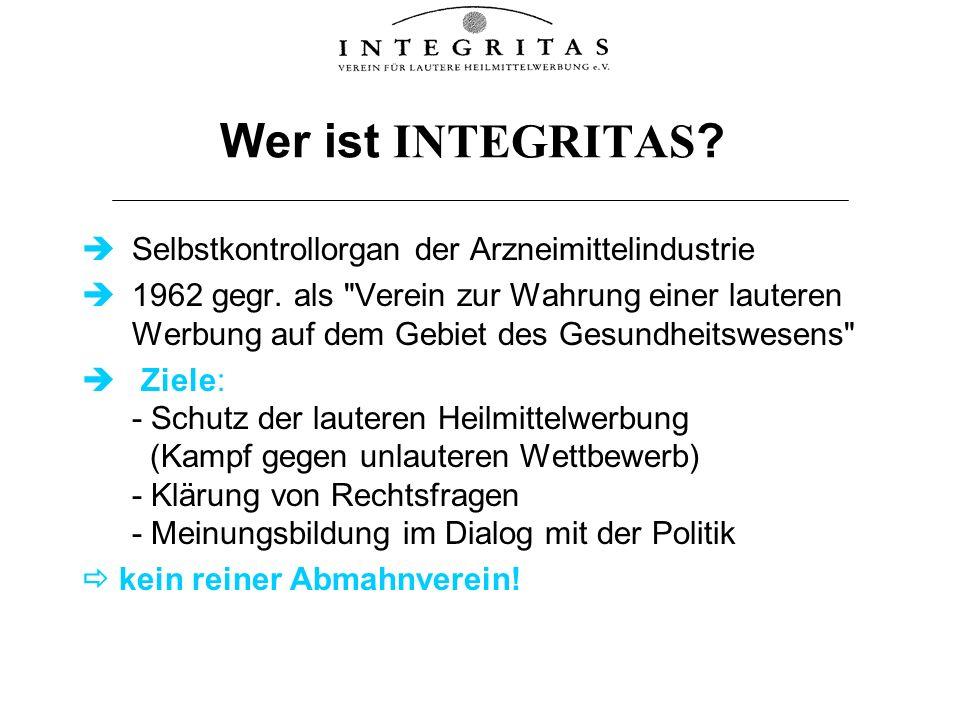 Wer ist INTEGRITAS Selbstkontrollorgan der Arzneimittelindustrie