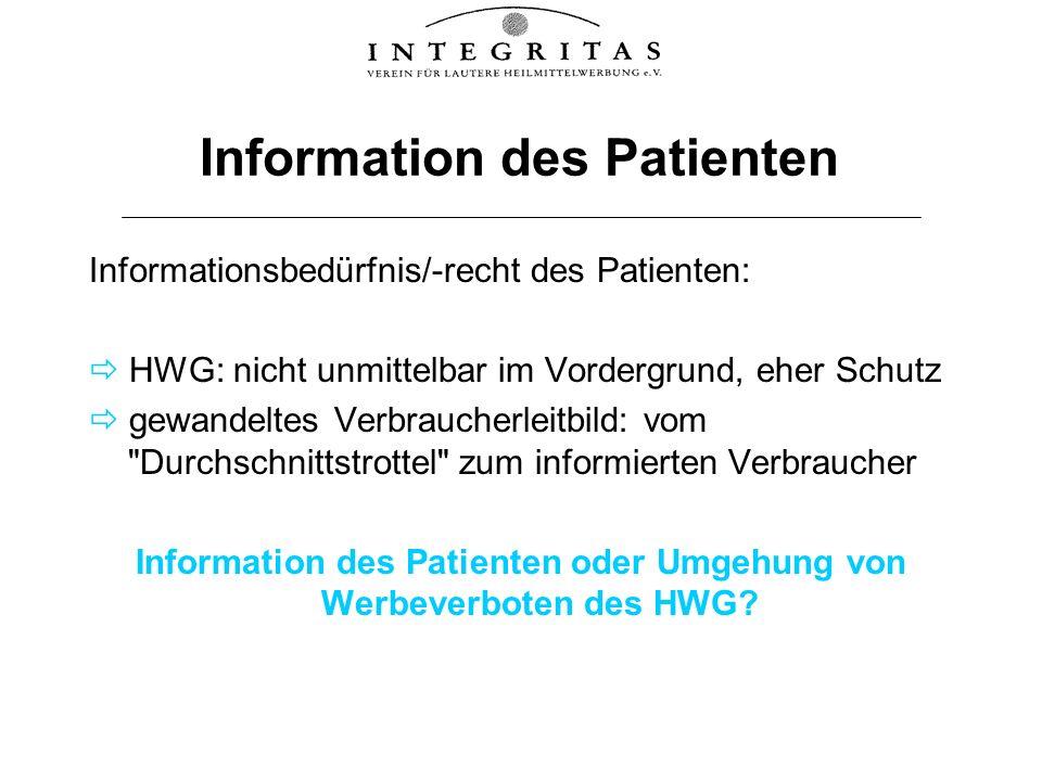 Information des Patienten