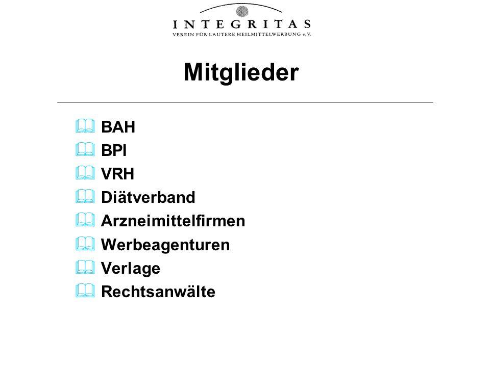 Mitglieder BAH BPI VRH Diätverband Arzneimittelfirmen Werbeagenturen