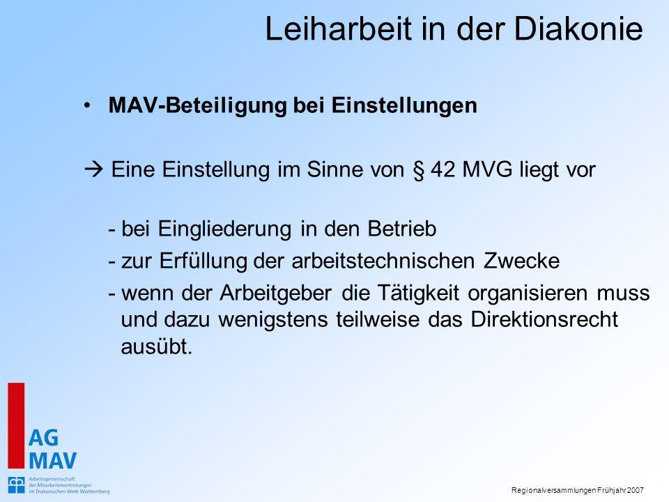 MAV-Beteiligung bei Einstellungen