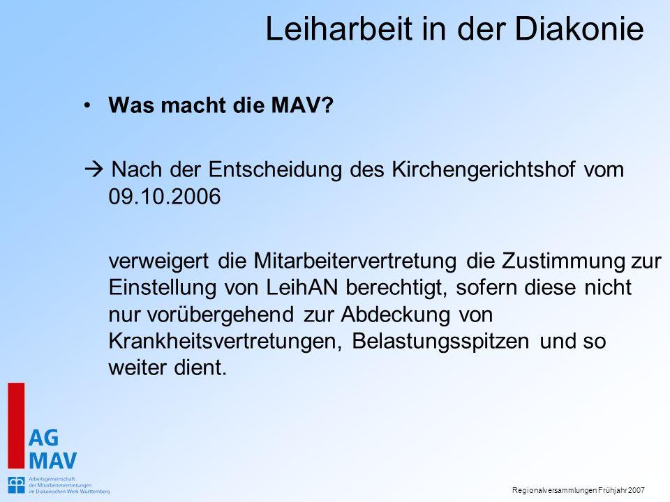 Was macht die MAV  Nach der Entscheidung des Kirchengerichtshof vom 09.10.2006.