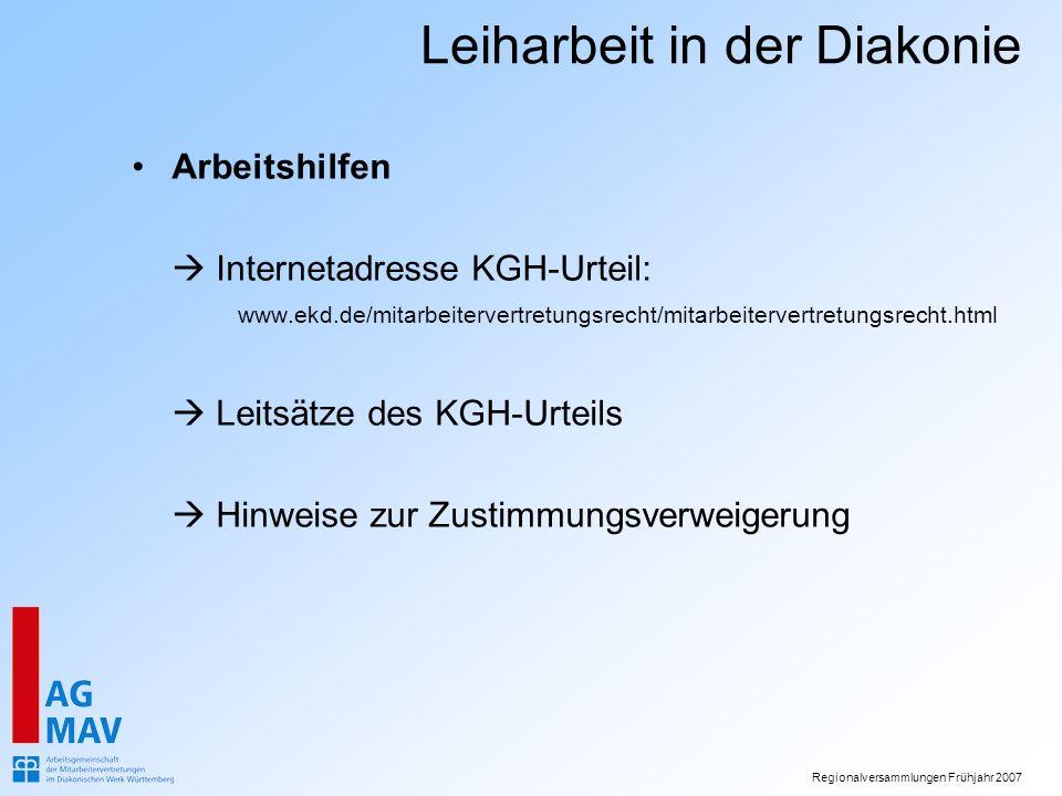 Arbeitshilfen  Internetadresse KGH-Urteil: www.ekd.de/mitarbeitervertretungsrecht/mitarbeitervertretungsrecht.html.