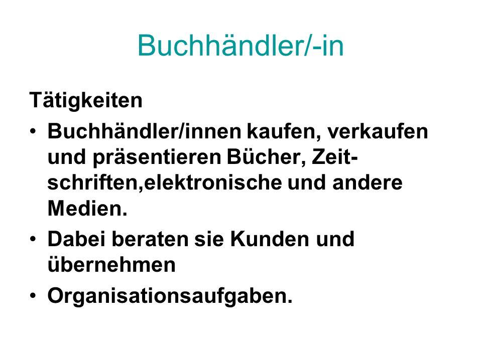 Buchhändler/-in Tätigkeiten