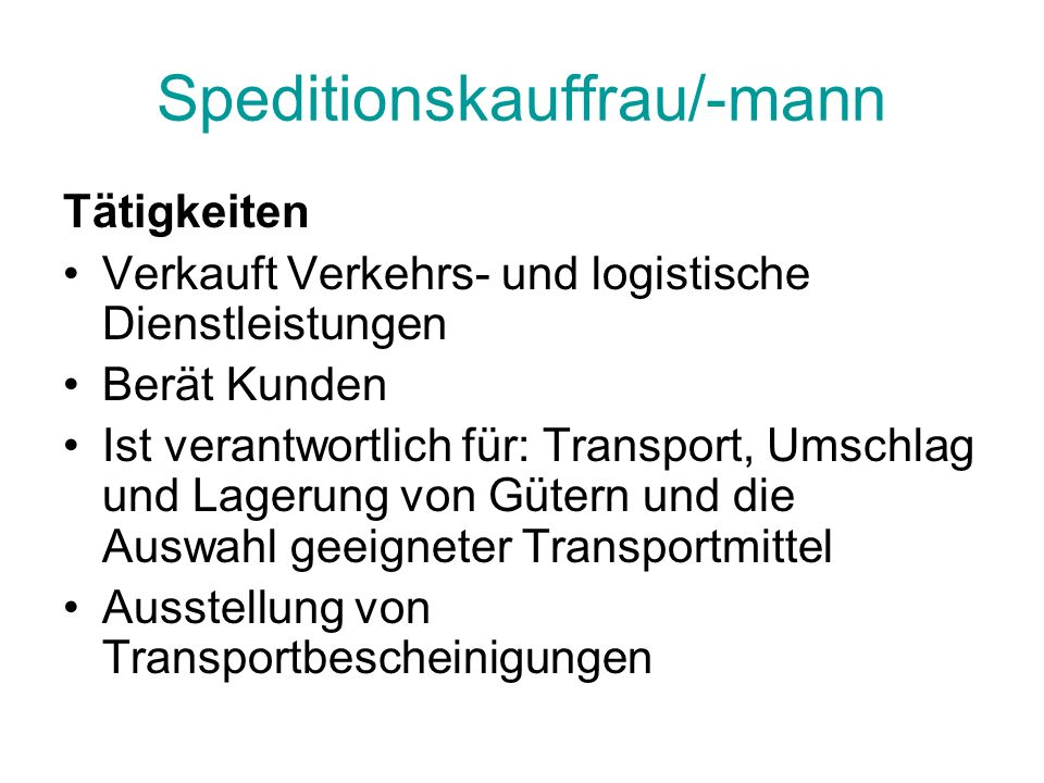 Speditionskauffrau/-mann
