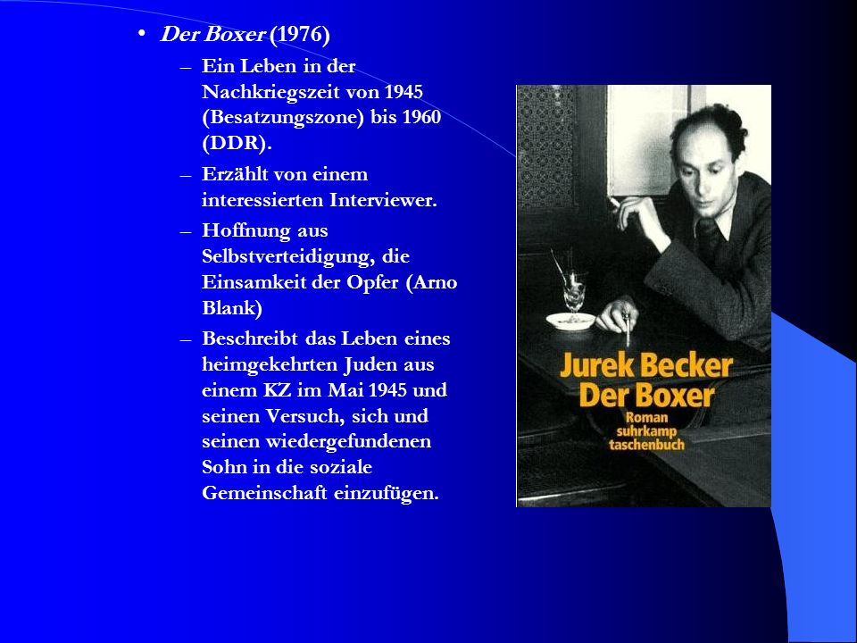 Der Boxer (1976) Ein Leben in der Nachkriegszeit von 1945 (Besatzungszone) bis 1960 (DDR). Erzählt von einem interessierten Interviewer.
