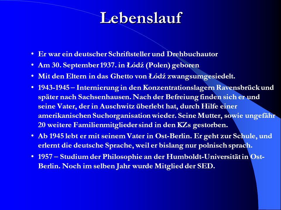 Lebenslauf Er war ein deutscher Schriftsteller und Drehbuchautor