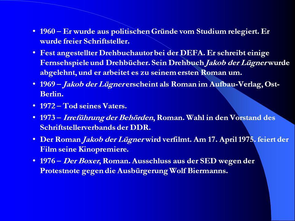 1960 – Er wurde aus politischen Gründe vom Studium relegiert