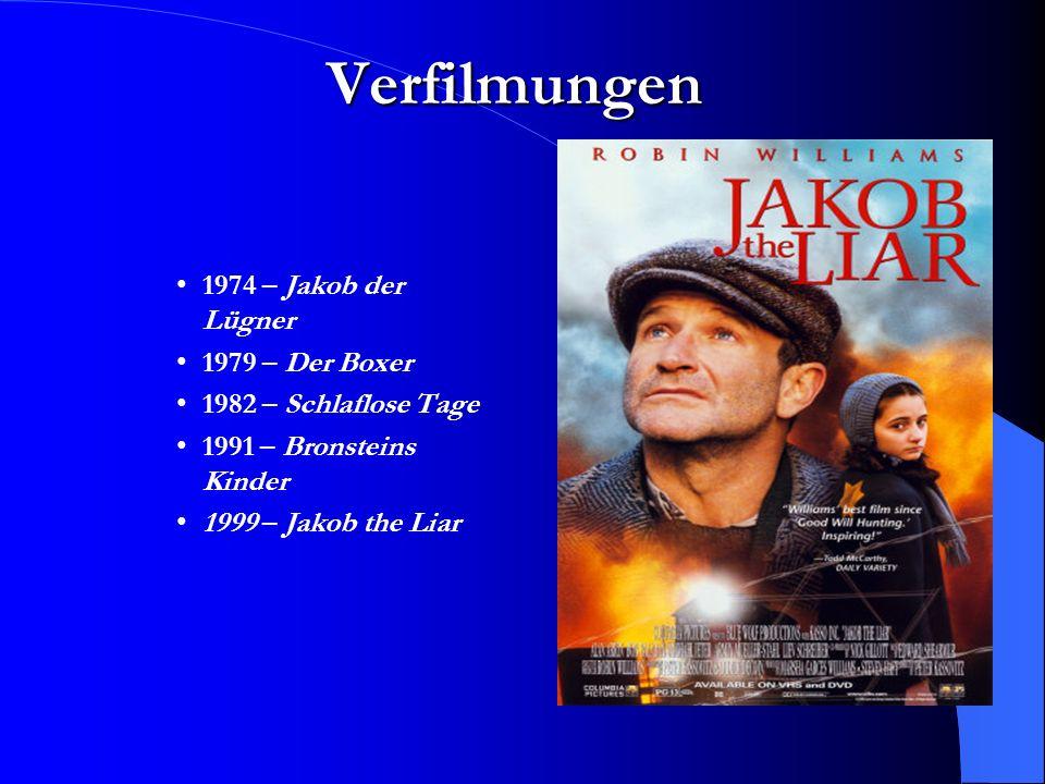 Verfilmungen 1974 – Jakob der Lügner 1979 – Der Boxer